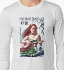 1958 French Polynesia Guitar Girl 10fr Postage Stamp Long Sleeve T-Shirt