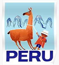 Vintage Child and Llama Peru Travel Poster Poster