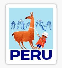Vintage Child and Llama Peru Travel Poster Sticker