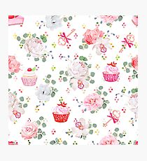 Fresh pastries, bouquets of flowers, keys with red bows and rainbow round blob confetti seamless vector print Photographic Print
