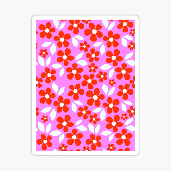 Bloom Happy! Retro Floral Pattern Collage Nº2 Red and Pink Sticker