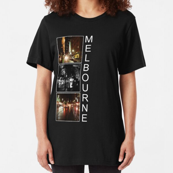 Melbourne shines at night Slim Fit T-Shirt