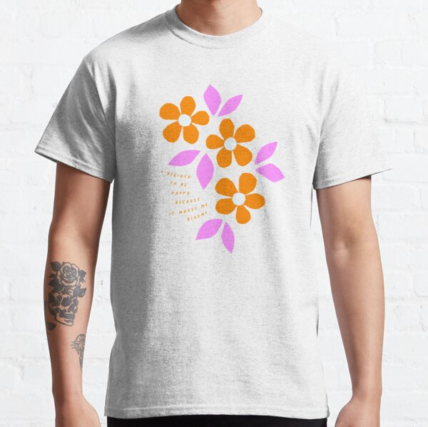 Bloom Happy! Retro Floral Collage Nº1 Orange and pink Classic T-Shirt