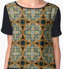 Seamless beautiful antique pattern ornament. Geometric background design, repeating texture. Women's Chiffon Top