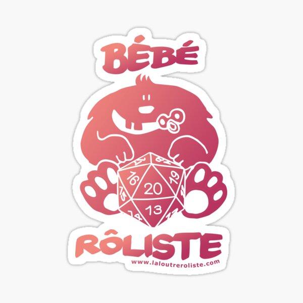 Bébé Rôliste Rose/Violet pour mère et père fans de jeux de rôle par La Loutre Rôliste Sticker