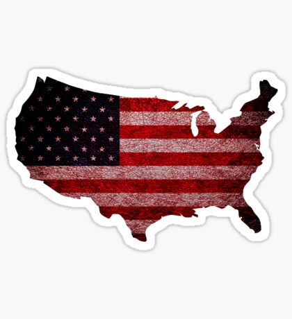American Flag and Map Sticker