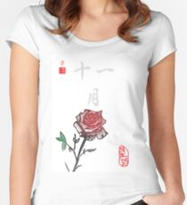 Inked Petals of a Year November Women's Fitted Scoop T-Shirt