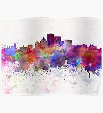 Rochester NY skyline in watercolor background Poster