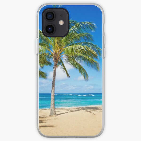 Palm trees on the sandy beach in Hawaii iPhone Soft Case