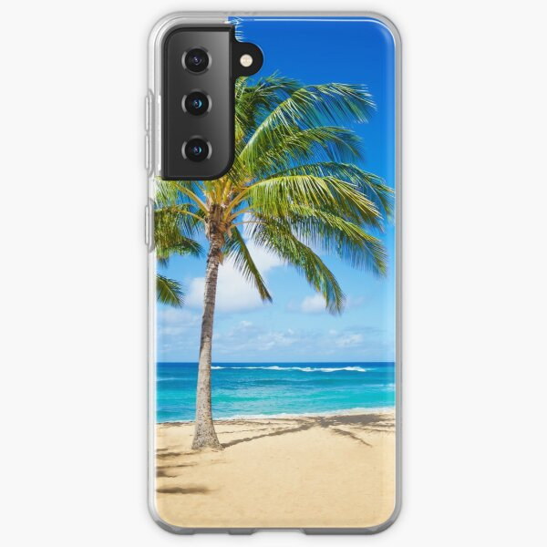 Palm trees on the sandy beach in Hawaii Samsung Galaxy Soft Case