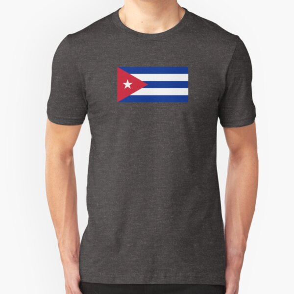 Cuba Flag - Cuban National Flag T-Shirt Sticker Slim Fit T-Shirt