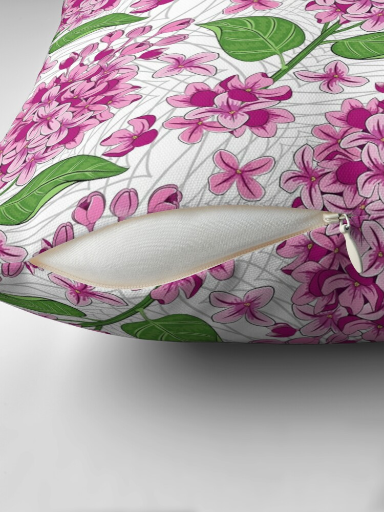 Alternate view of Lilacs Flowers Pattern Throw Pillow