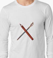 Crossed Pencil Artist Brush Retro T-Shirt