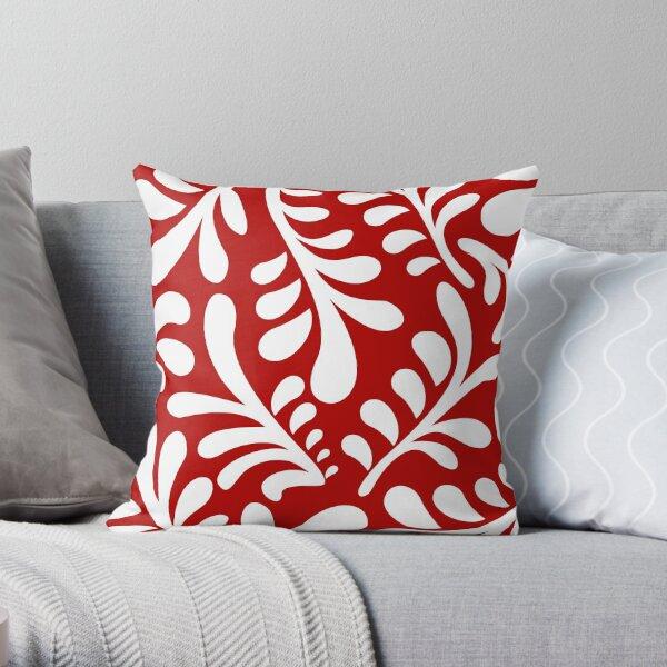 Porcelain Red/white Throw Pillow