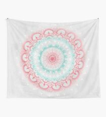 Teal & Coral Glow Medallion Wall Tapestry