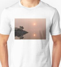 Satiny Pinks and Rough Grays - Soft Fog Sunrise on the Lake T-Shirt