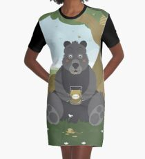 Bear with a jar of honey Graphic T-Shirt Dress