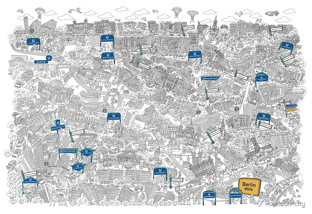 Illustrated Map Of BerlinMitte Black White By Cartooncity - Berlin mitte map