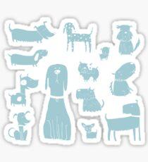 dogs - pale blue Sticker