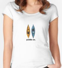 Kayak Design - with Paddle On text - blue and orange kayaks Women's Fitted Scoop T-Shirt