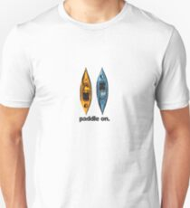 Kayak Design - with Paddle On text - blue and orange kayaks Unisex T-Shirt