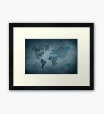 World map blue Framed Print