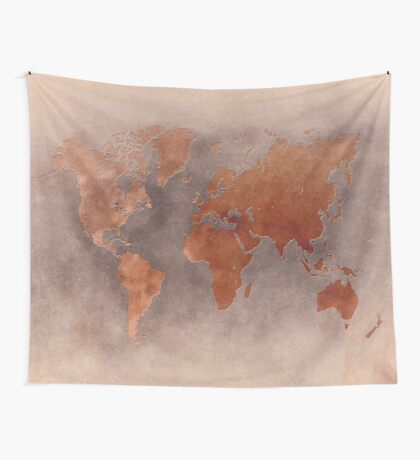 World map brown Wall Tapestry
