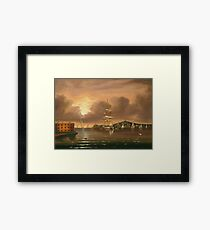 Thomas Chambers - Threatening Sky, Bay Of New York. Sea landscape: sea view,  yachts,  holiday, sailing boat, coast seaside, waves and beach, marine, seascape, sun clouds, nautical, ocean Framed Print