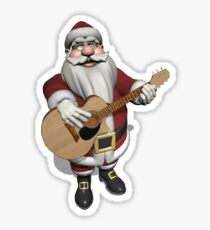 Santa Claus Plays Accoustic Guitar Sticker