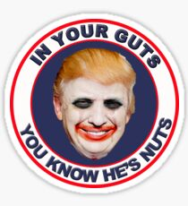 In Your Guts You Know He's Nuts Sticker