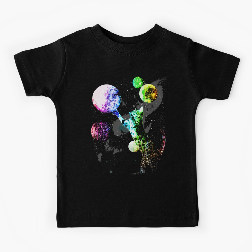 Space Cat with Planets Kids T-Shirt