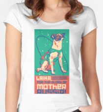 Laika Space Dog Illustration Vector Russian Propaganda Pup Retro Vintage Women's Fitted Scoop T-Shirt