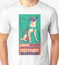 Laika Space Dog Illustration Vector Russian Propaganda Pup Retro Vintage Unisex T-Shirt