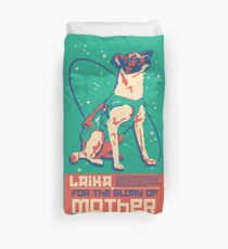 Laika Space Dog Illustration Vector Russian Propaganda Pup Retro Vintage Duvet Cover