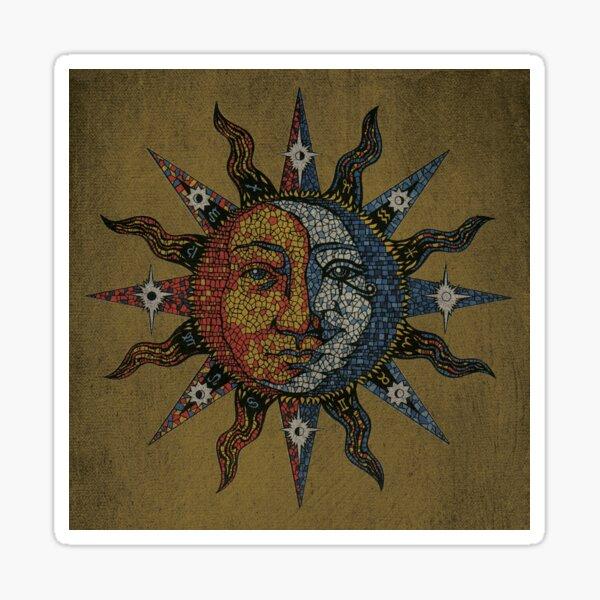 Vintage Celestial mosaic Sun & Moon Sticker