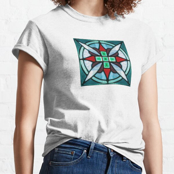 Teal and Red Stained Glass Classic T-Shirt