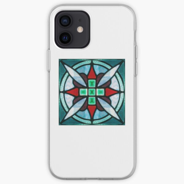 Teal and Red Stained Glass iPhone Soft Case
