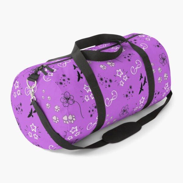 Cute, paw print, purple, flower, birds, stars, pattern Duffle Bag