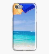 Beach umbrella by the ocean iPhone Case/Skin