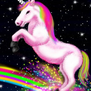 Fluffy Pink Unicorn Dancing on Rainbows by Sookiesooker