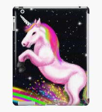 Fluffy Pink Unicorn Dancing on Rainbows iPad Case/Skin