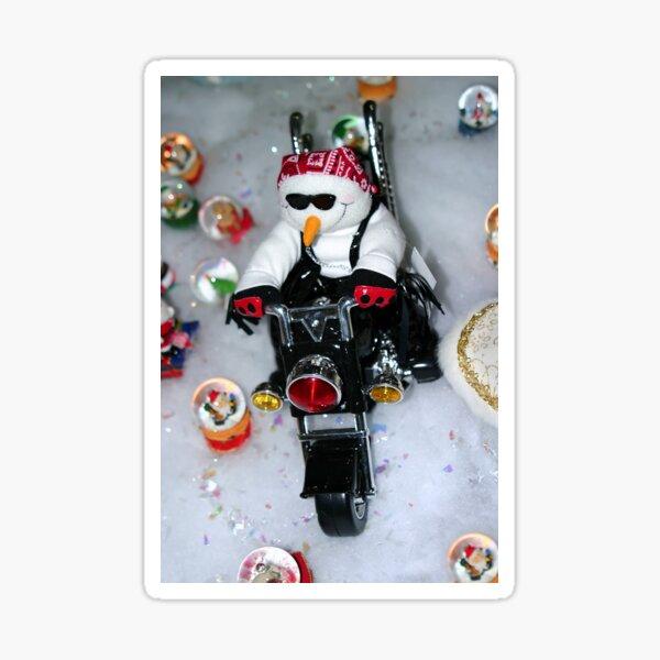 Motorcycle Snowman Sticker