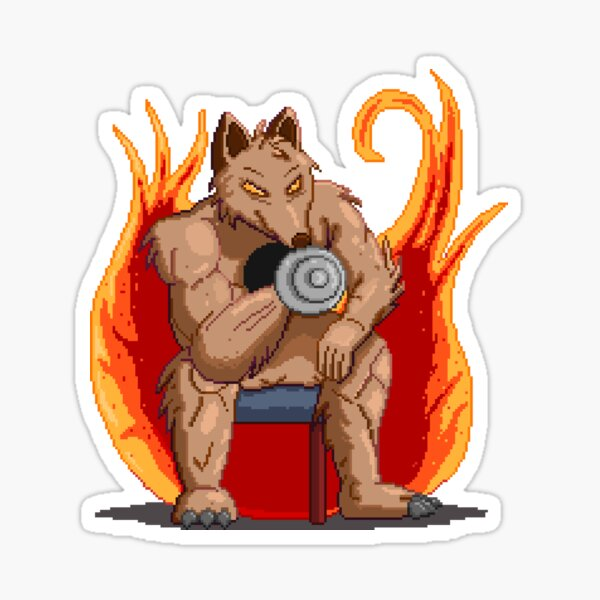 Pixel Art - Wolf Pumping Iron With Fire Sticker