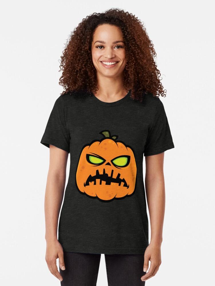 Alternate view of Pumpkin Zombie Tri-blend T-Shirt