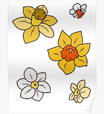 Colorful Daffodils Poster