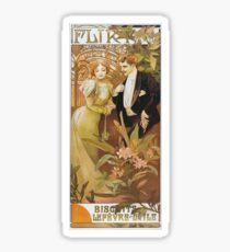 Alphonse Mucha - Flirt - Biscuits Lefevre Utile Sticker