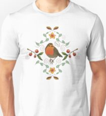 Autumn Robin Pattern Unisex T-Shirt