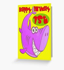 Pink Shark First Birthday Greeting Card