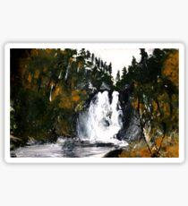 Canada Waterfall Nova Scotia Acrylics On Paper Sticker