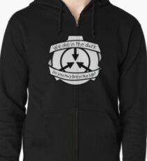 Die in the dark: Black and White Zipped Hoodie